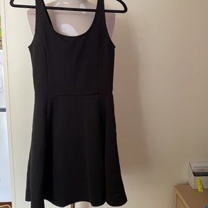 H and m - black dress and pink detailed singlet